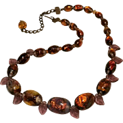 Venetian opalescent fire foil glass bead necklace purple leaves