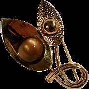 Napier coffee moonglow lucite pin circa 1955
