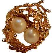 Esposito 18K HGE ring Brutalist cultured pearls