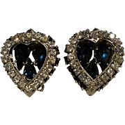 Warner rhinestone heart earrings blue clip