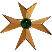 Signed Trifari maltese cross pin green swirl glass cabochon