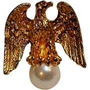 Ann Hand sterling 18K gold overlay Liberty Eagle pin simulated pearl