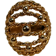 Napier Modernist ring twisted rope and spheres