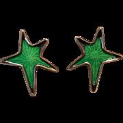 Meka Denmark sterling enamel star clip earrings green