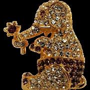 Napier rhinestone elephant pin