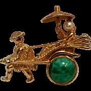 Napier rickshaw pin Peking glass simulated pearl
