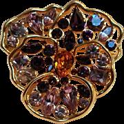 Nolan Miller Pansy pin purple rhinestone