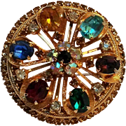 Warner rhinestone flower wheel pin