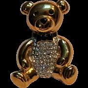 Carolee teddy bear pin rhinestone belly black enamel bow tie