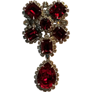 Kramer red rhinestone drop pin