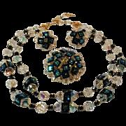 Rare Vendome square peacock rivoli crystal parure necklace earrings brooch