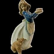 Lladro figurine girl puppy dog cake Nao 1987 retired 1045 Daisa