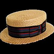 Vintage Hopkins Baltimore Mens straw boater hat