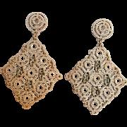 Trifaro Mod clip earrings enamel drops white