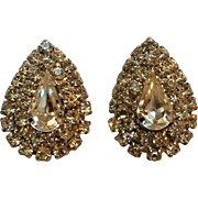 Hattie Carnegie rhinestone clip earrings tear drop shape
