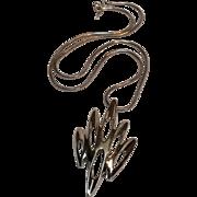 Trifari Modernist pendant necklace snake chain silver tone