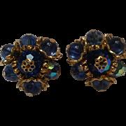 Vendome blue Swarovski crystal bead earrings tension screw clip
