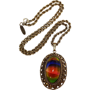 Whiting Davis rainbow glass cabochon pendant necklace