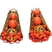 Miriam Haskell tension screw clip earrings coral glass beads