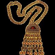 Goldette necklace bezel crystal pendant Etruscan revival