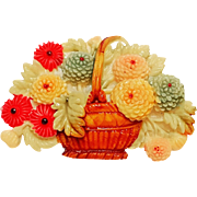 Celluloid basket of flowers pin Japan