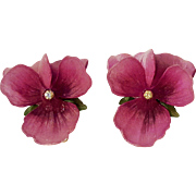 Trifari plastic violet flower clip earrings