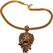 Erwin Pearl lion head pendant necklace mesh snake chain