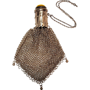 Antique silver chain mail mesh gate top chatelaine coin purse glowing yellow cabochon
