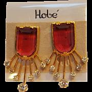 Hobe clip earrings fuchsia crystal rhinestone