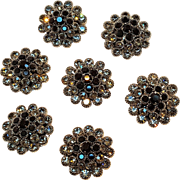 Rhinestone buttons black smoke gray prong set lot of seven