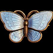 Volmar Bahner Denmark sterling silver basse taille enamel butterfly pin blue