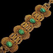 Czech gold on brass filigree bracelet Peking glass stones
