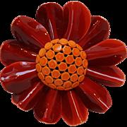 Enamel flower pin orange and red