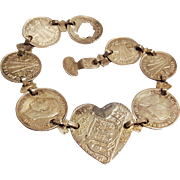 WW2 era trench art sweetheart silver coin bracelet seahorse, heart, castle US