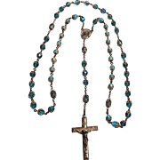Creed sterling rosary blue crystal beads filigree caps