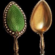 Clement Berg Oslo Norway sterling gold wash enamel demitasse spoons two
