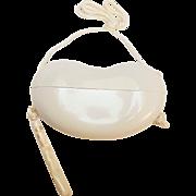 Halston Elsa Peretti bean purse off white plastic in box