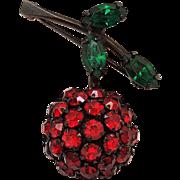 Warner cherry pin red rhinestone