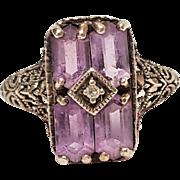 CNA sterling filigree ring amethyst Art Deco revival