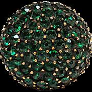Vendome ring pave set green rhinestone dome