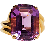 10K gold ring amethyst stone XPS