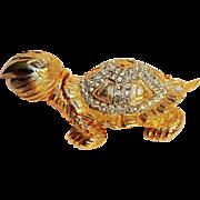 Marvella turtle pin rhinestone