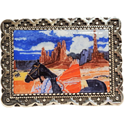 Mestizo series Amado M Pena painted porcelain sterling brooch pendant
