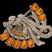 Eisenberg Original brooch amber rhinestone glass cabochon