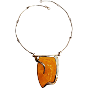 Modernist sterling silver natural Baltic egg yolk butterscotch amber necklace