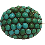 Antique turquoise sterling pin pave set