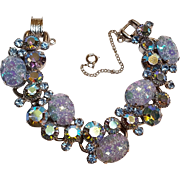 Juliana pressed floral glass aurora borealis rhinestone bracelet blue