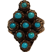 Silver petit point turquoise ring Native American