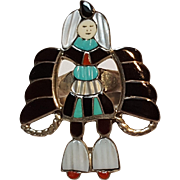 J.A. Calavaza Zuni inlay ring winged god turquoise, mother of pearl, coral, jet