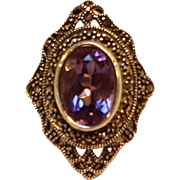 Sterling silver marcasite ring purple stone